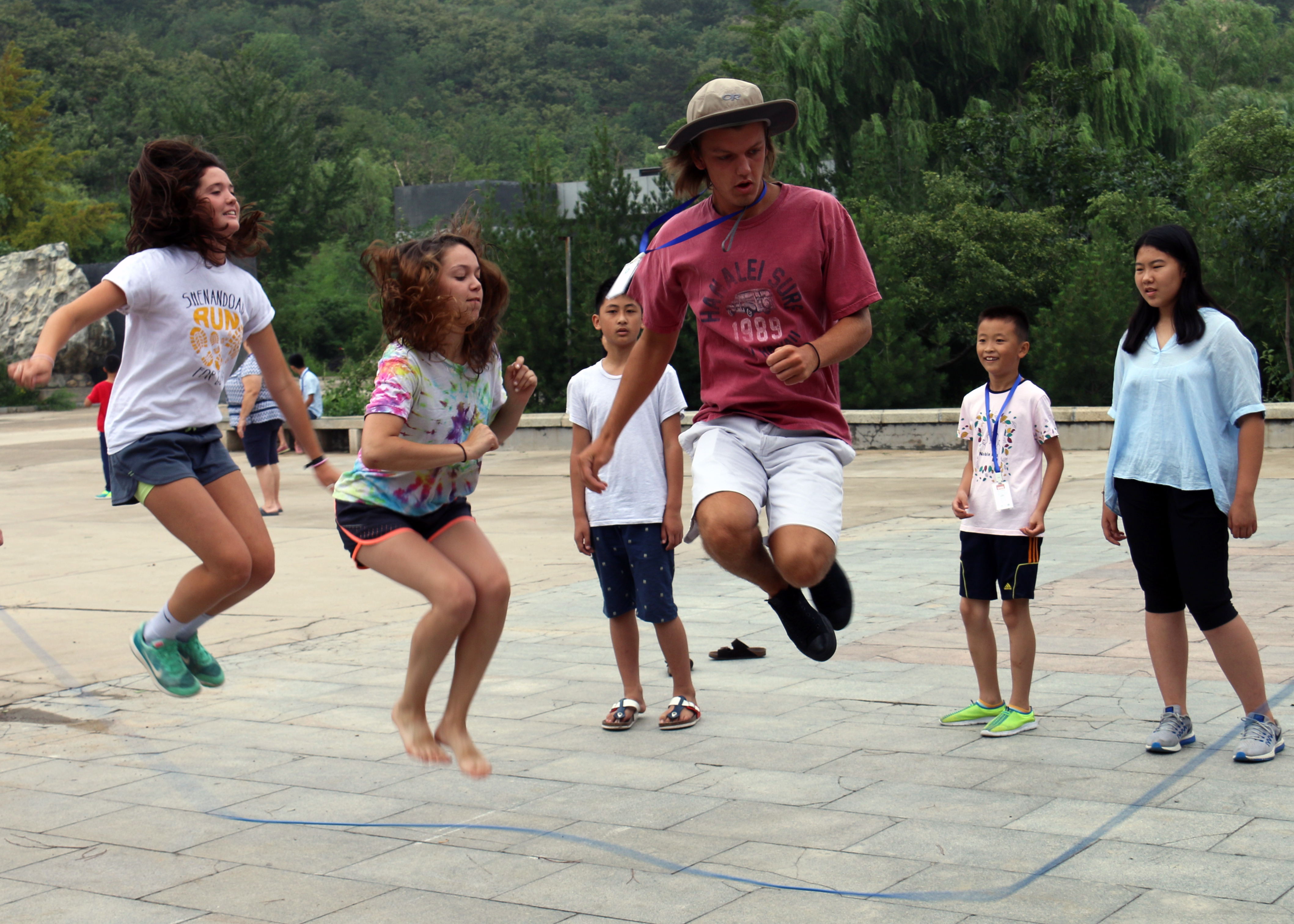 Students jump rope during a summer camp
